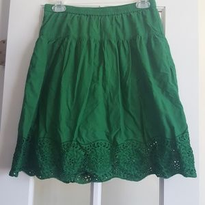 Old Navy Emerald Green Scallop Eyelet Skirt